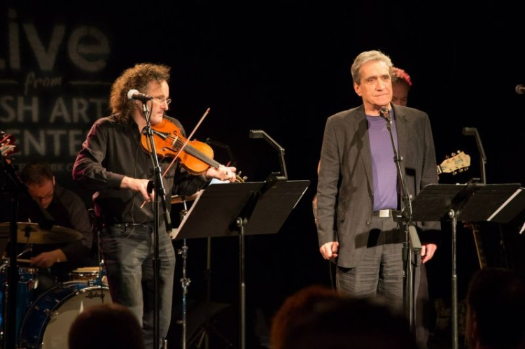 Martin Hayes and Robert Pinsky at the Irish Arts Centers Muldoon Picnic, October 2014 (photo: Amanda Gentile)